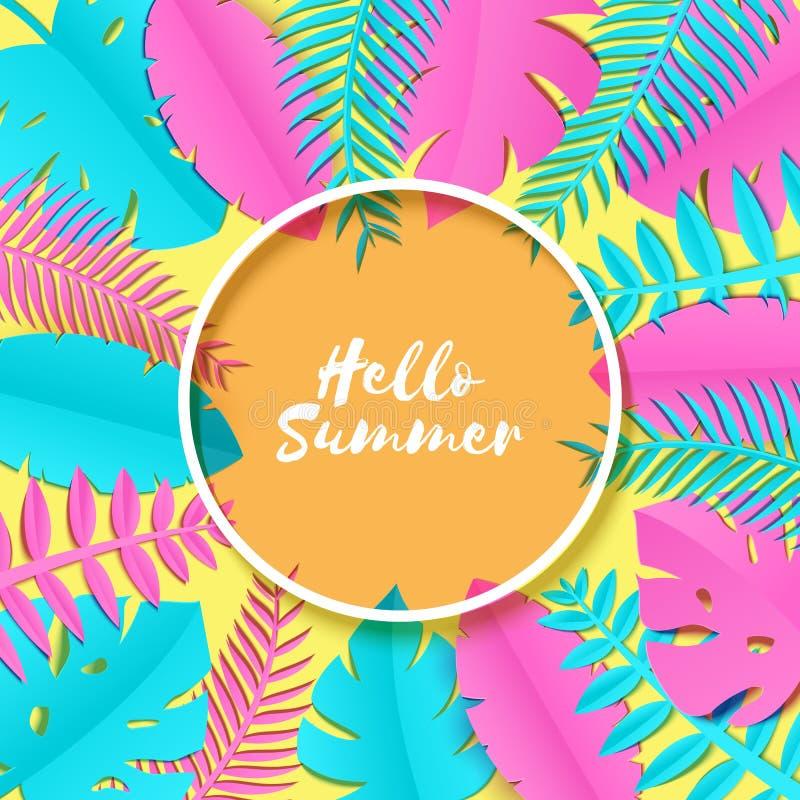 Utformar tropiska palmblad för sommar, växter i trandy papperssnitt Vitrundaram på exotiska blåa rosa färgsidor på guling stock illustrationer