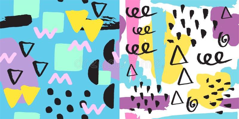 Utformar ytbehandlar ändlösa abstrakta påfyllningar för den universella memphis sömlösa modellen och den färgrika geometriska pry vektor illustrationer