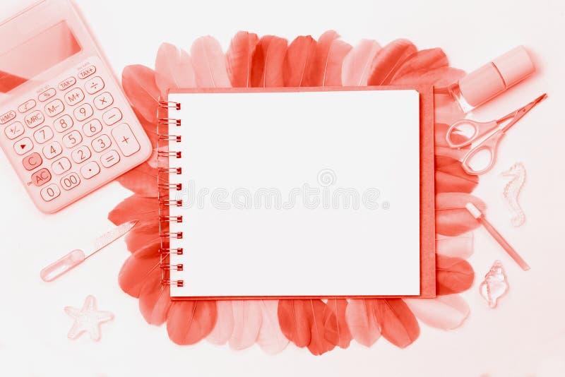 Utformat kvinnligt skrivbord Lekmanna- lägenhet arkivfoto