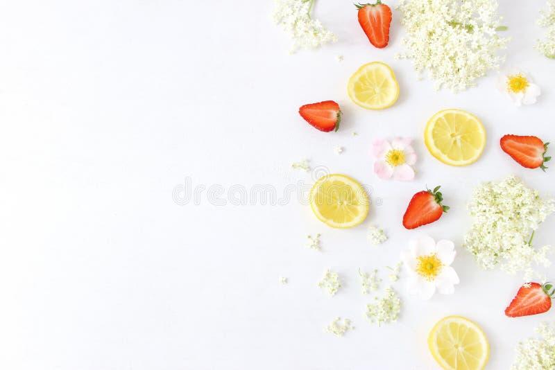 Utformat materielfoto Vår- eller sommarfruktsammansättning Skivade citroner, elderflowers, jordgubbar och lösa rosor royaltyfria foton