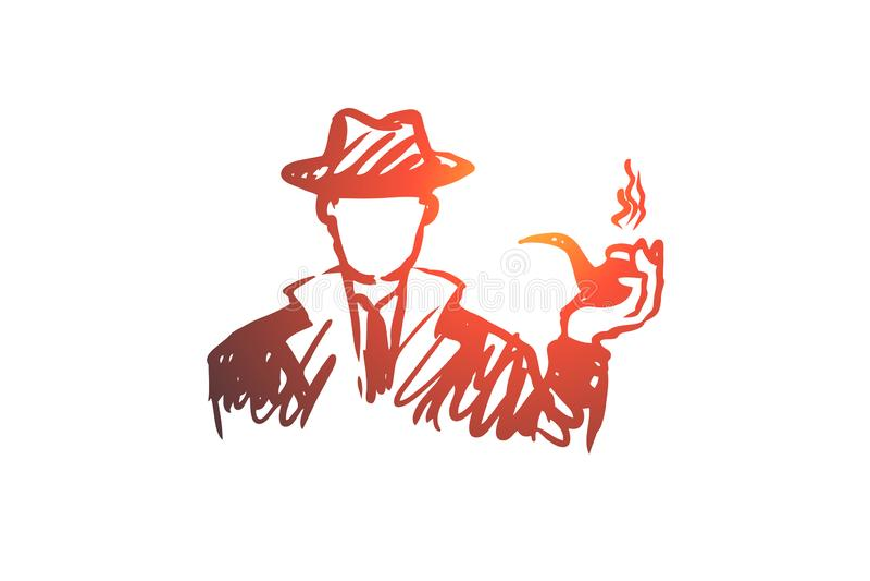 Utforska förstoringsapparaten, sökandet, mannen, detektiv- begrepp Hand dragen isolerad vektor stock illustrationer