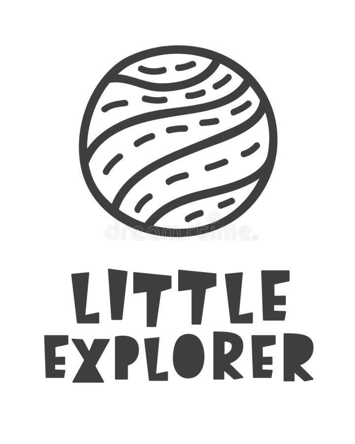 utforskare little Utrymmelopp Skandinaviskt uttryck för bokstäver för stiluniversumtema royaltyfri illustrationer