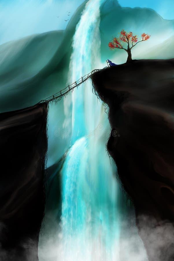Utforskare på bergöverkant stock illustrationer