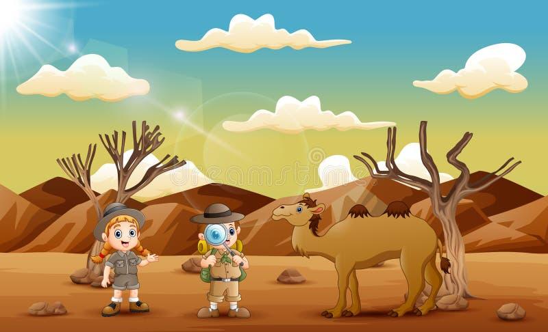 Utforskareungarna med en kamel i öknen vektor illustrationer