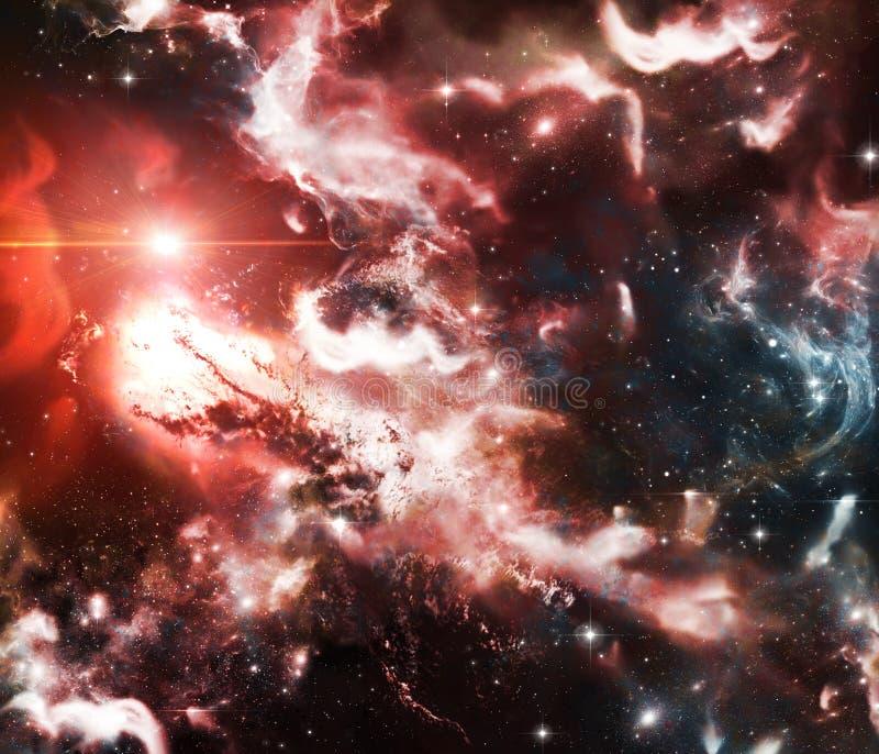 Utforskning av rymden, nebulosor och stjärnor Interstellära agglomerat av damm, väten och plasma royaltyfri illustrationer
