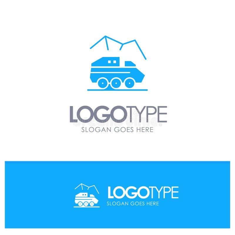 Utforskning planet, Rover, yttersida, blå fast logo för transport med stället för tagline stock illustrationer
