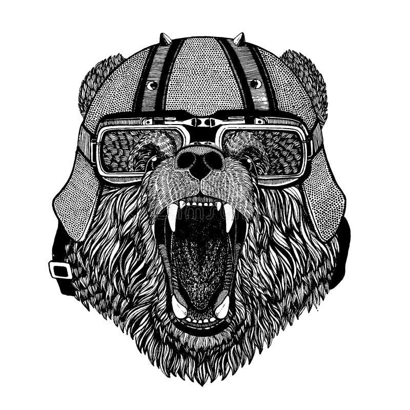 Uthärda att bära en motorcykel, aero hjälm Utdragen bild för hand för tatueringen, t-skjorta, emblem, emblem, logo, lapp vektor illustrationer