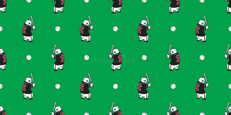 Uthärda den sömlösa bakgrund för baseball för nallen för modellvektorisbjörnen isolerad tapeten stock illustrationer