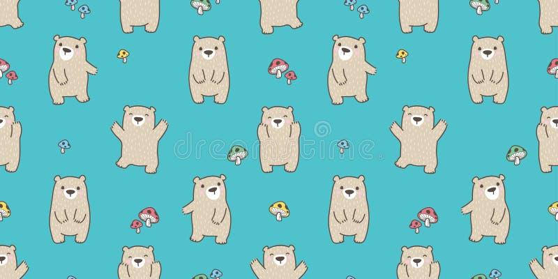 Uthärda den sömlösa tapeten för bakgrund för champinjonen för nallen för modellvektorisbjörnen lyckliga skogen isolerade royaltyfri illustrationer