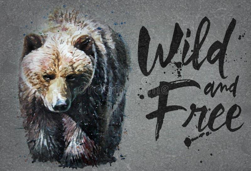 Uthärda vattenfärgmålning med bakgrund, det rovdjurs- trycket för djurliv för djur lös och fri djurliv, för t-skjorta royaltyfri foto