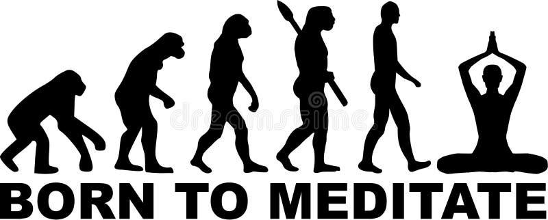 Uthärdat för att meditera evolution royaltyfri illustrationer