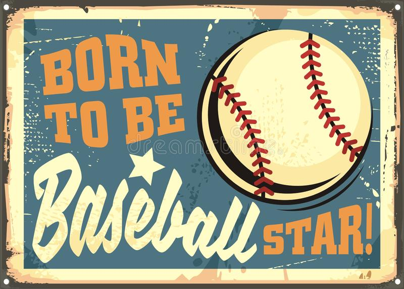 Uthärdat för att vara motivational meddelande för baseballstjärna royaltyfri illustrationer