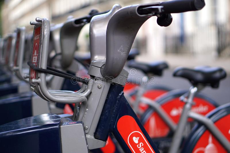 Uthyrnings- cyklar, London, slut upp arkivbilder