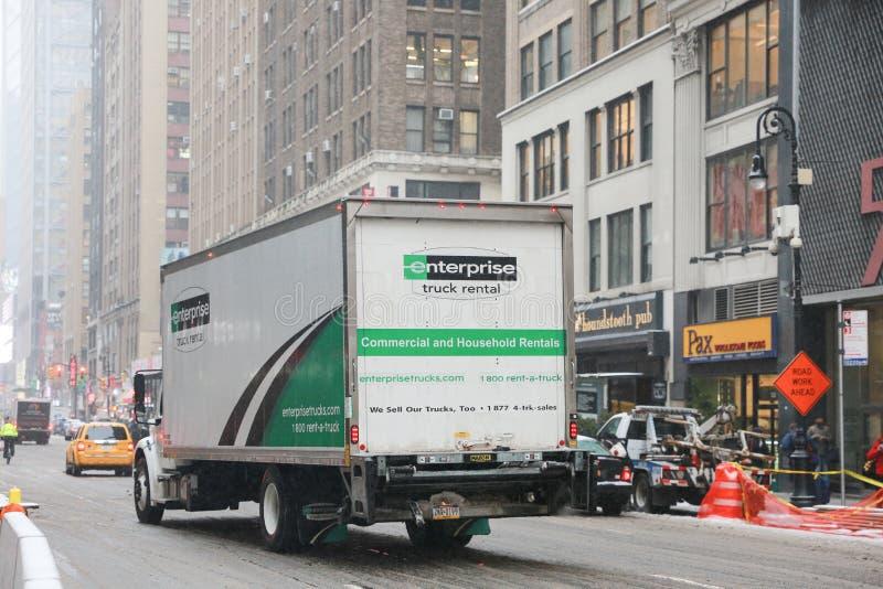 Uthyrnings- lastbil för företag i New York fotografering för bildbyråer