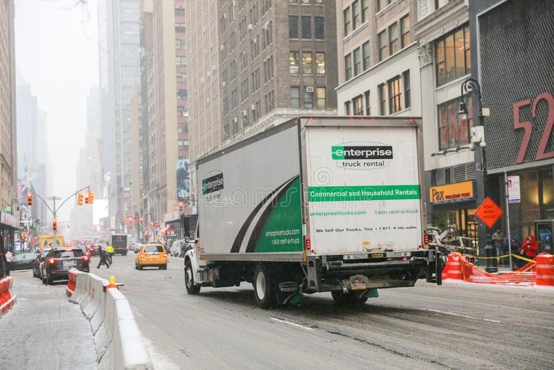 Uthyrnings- lastbil för företag i New York arkivbild