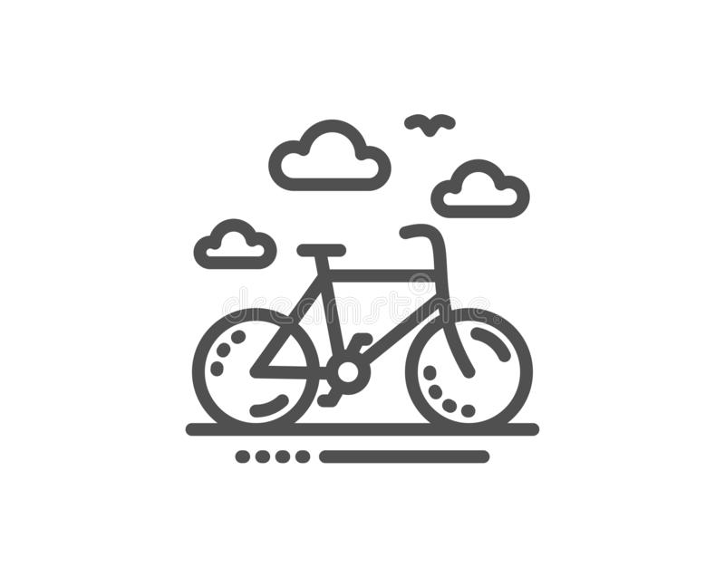 Uthyrnings- linje symbol för cykel Cykelhyratecken kvinnlig s?ng f?r danande f?r hush?llningarbetarhembitr?de med s?ngkl?der p? g stock illustrationer