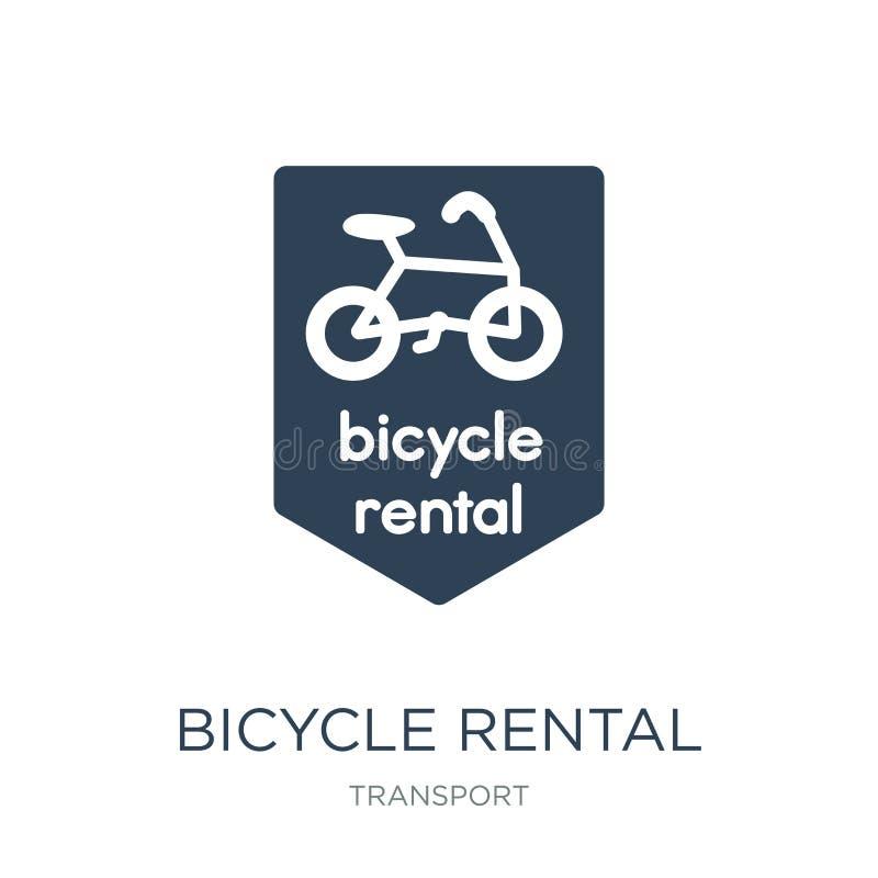 uthyrnings- symbol för cykel i moderiktig designstil uthyrnings- symbol för cykel som isoleras på vit bakgrund uthyrnings- enkel  royaltyfri illustrationer