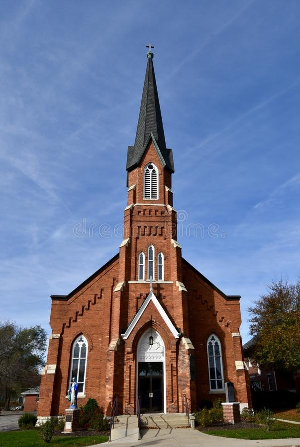Utica Church. This is a Fall picture of St. Mary's Catholic Church located in Utica, Illinois in LaSalle County. This brick Church was built in 1888 on the site royalty free stock images