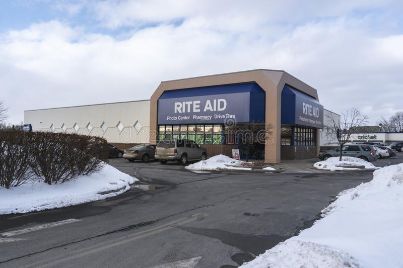 UTICA, NEW YORK - MAR 04, 2019: Winter View of Rite Aid Pharmacy Exterior, Located at 1924 Genesee St, Utica, NY 13502. Rite Aid. Is a Drugstore Chain in the stock photos
