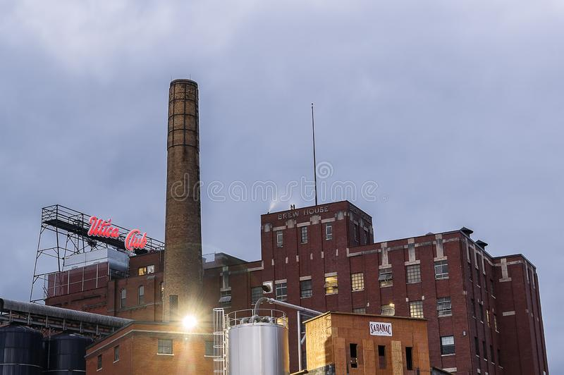 UTICA, NY, USA - OCT. 03, 2018: F.X. Matt Brewing Company is a family-owned brewery in Utica, New York. It is the fourth oldest fa. Mily-owned brewery in the royalty free stock image