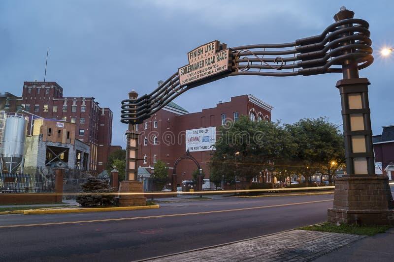 UTICA NY, USA - OKTOBER 03 2018: F X Matt Brewing Company är familjen ägt bryggeri i Utica, New York Det är den fjärde äldsta fa royaltyfri foto