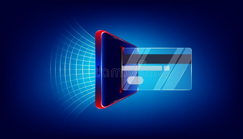 Utilice la tarjeta de crédito de cristal vía el smartphone de lujo para su márketing de negocio o compre cuál es usted quiere Ten stock de ilustración