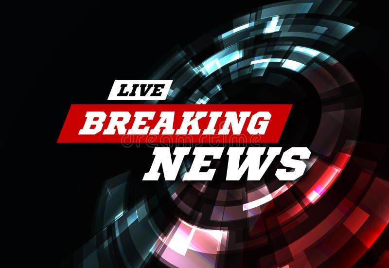 Utilicen a Live Breaking News Can como diseño para el informativo de televisión o los medios de Internet Vector stock de ilustración