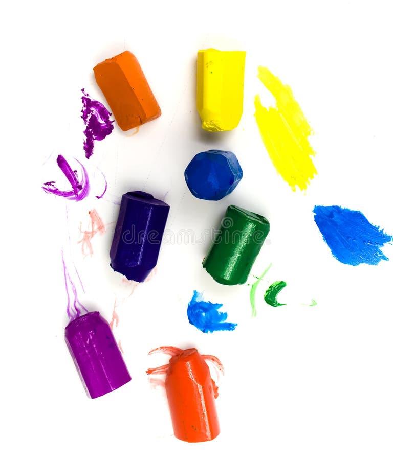 Utilisé sept crayons de cire images libres de droits