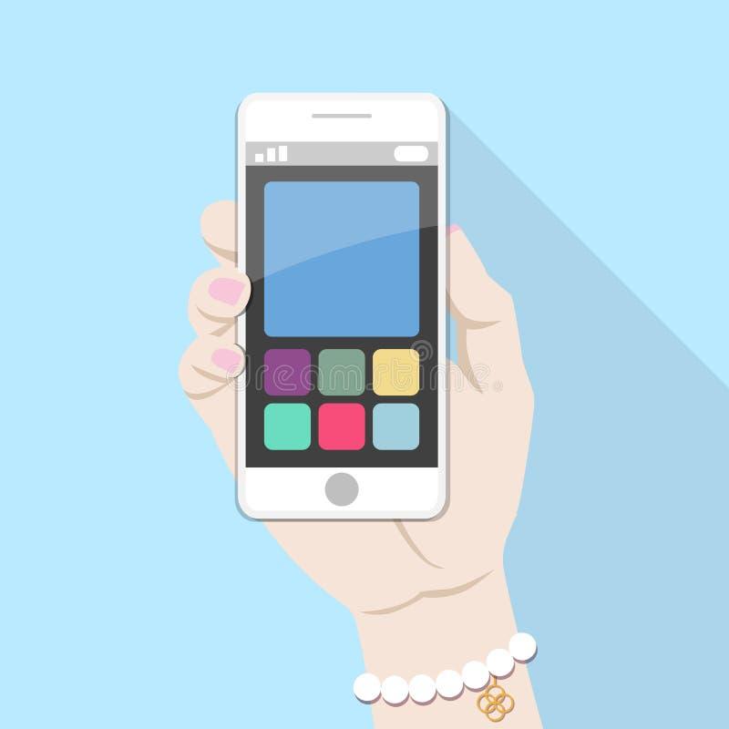 Utilisant le téléphone intelligent mobile, concept de construction plat photographie stock
