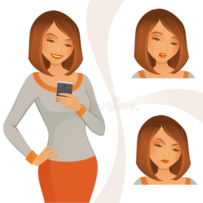 Utilisant le téléphone portable illustration libre de droits