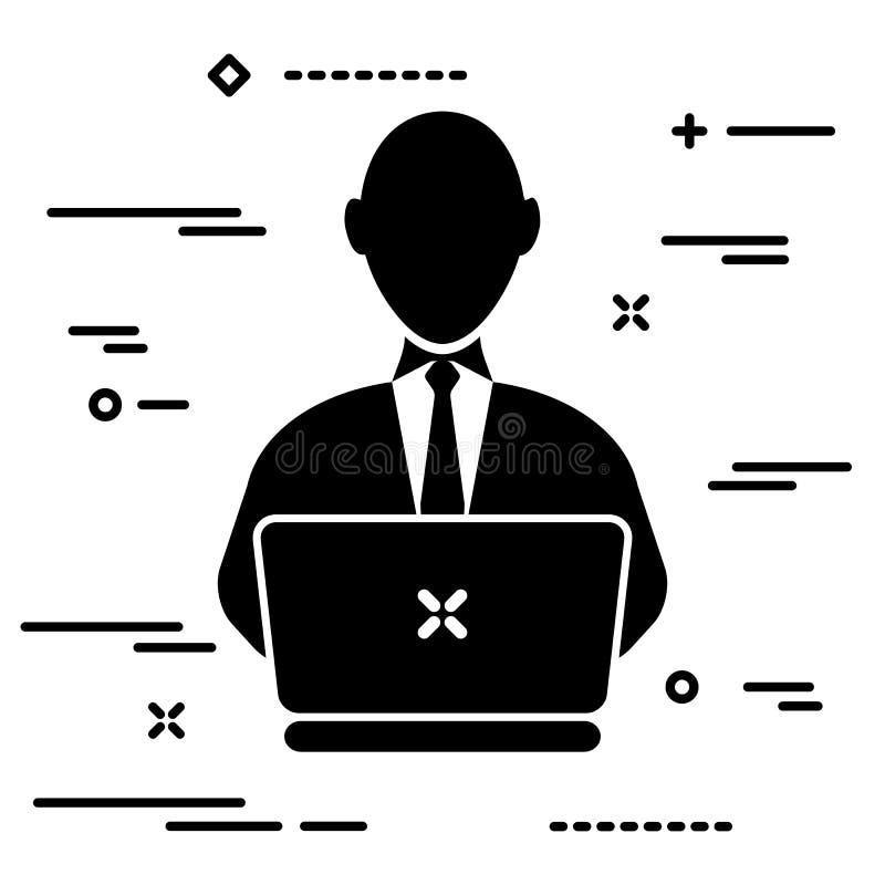 Utilisateur avec le lien travaillant sur l'ordinateur portable, illustration de concept de personne illustration de vecteur