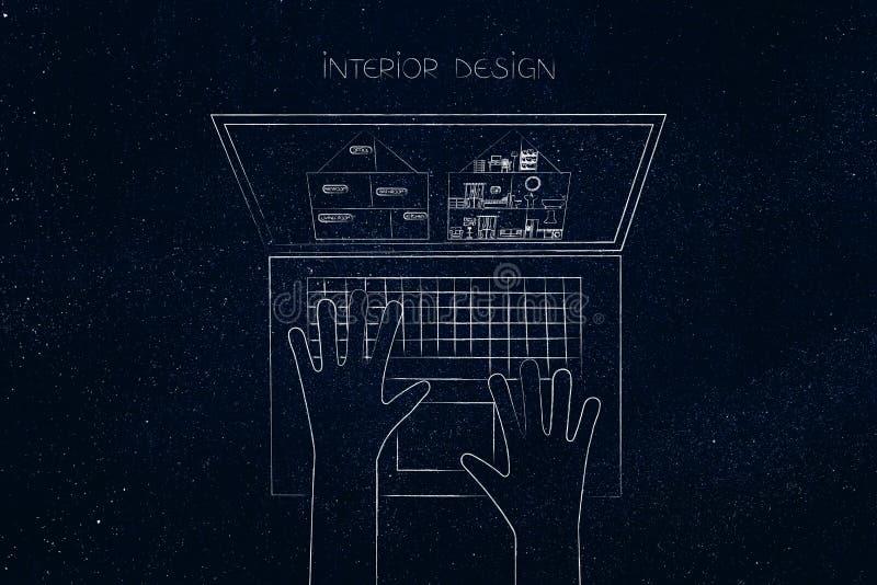 Utilisateur d'ordinateur portable de conception intérieure avec le projet de maison sur l'écran illustration de vecteur