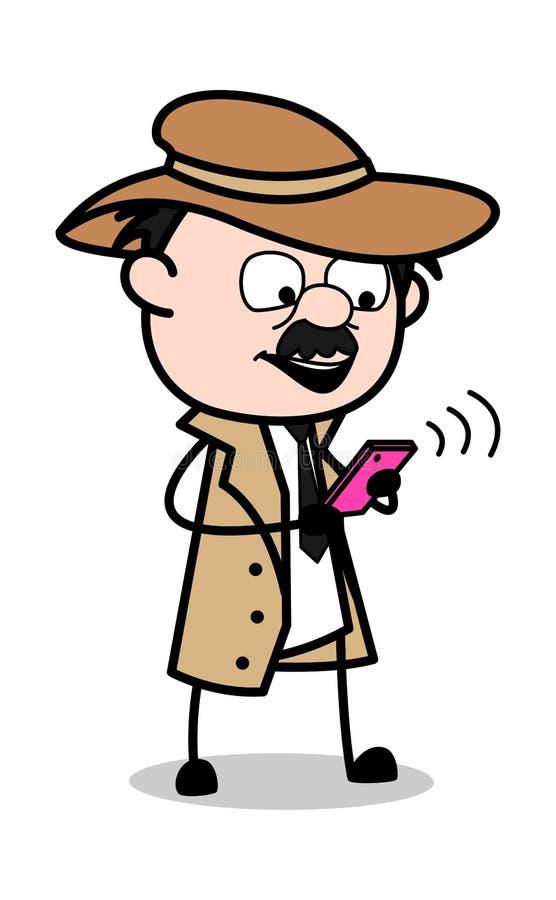 Utilisateur de Smartphone - rétro détective Vector Illustration d'agent de police de bande dessinée illustration de vecteur