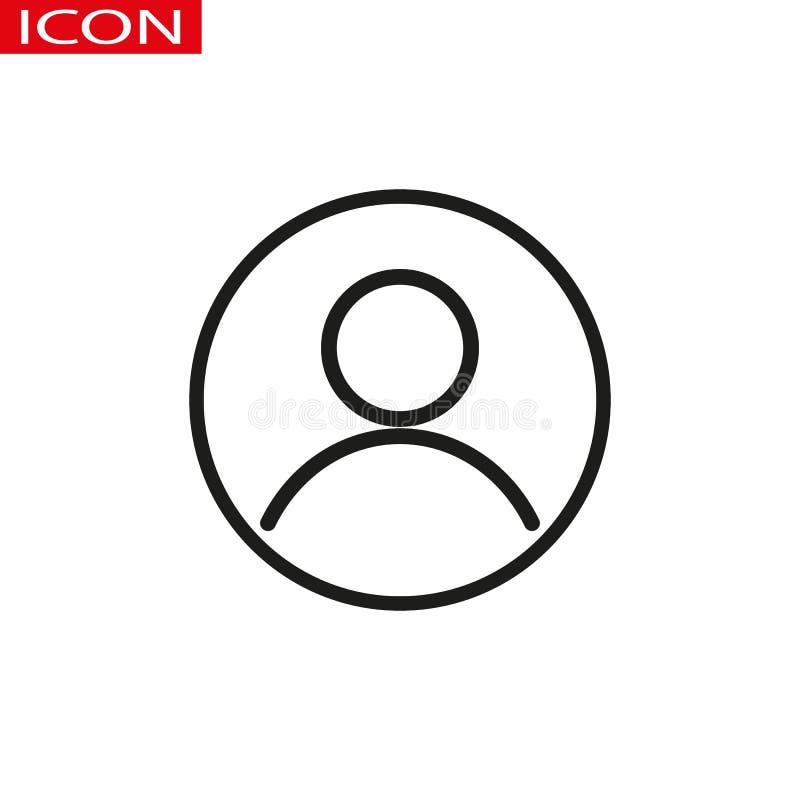 Utilisateur, ligne circulaire icône de compte Signe simple rond Symbole plat de vecteur de style illustration stock