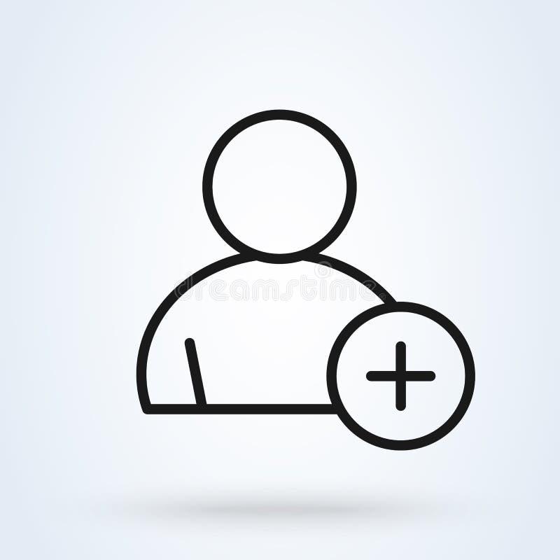 Utilisateur plus et ajouter la personne Illustration moderne de conception d'icône de vecteur simple illustration stock