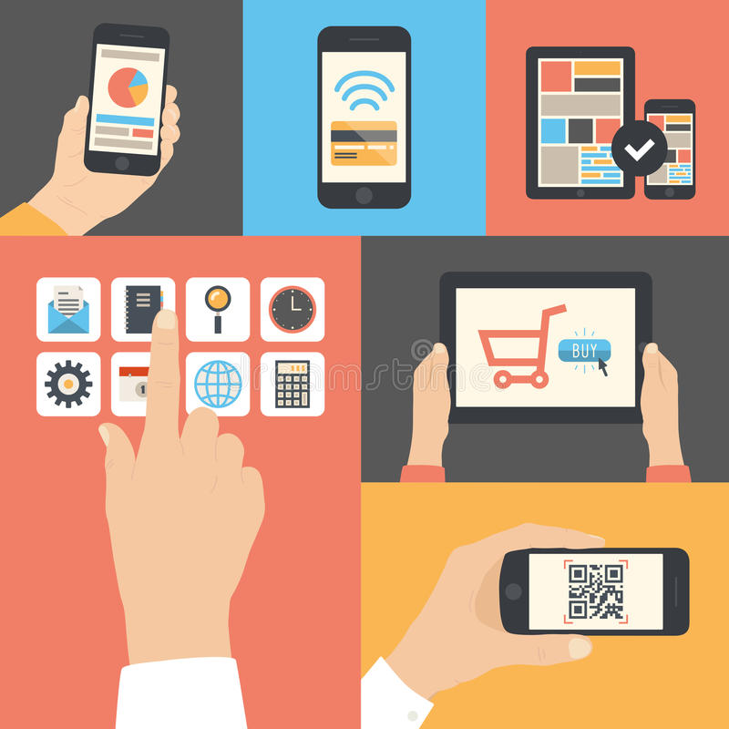 Utilisation de communication d'affaires de mobile et de comprimé illustration de vecteur