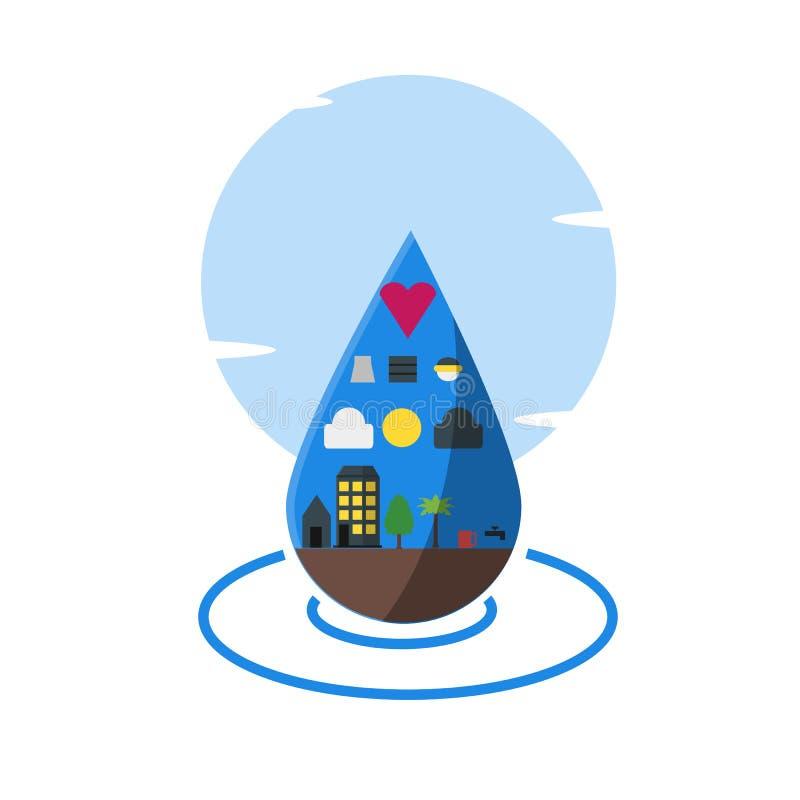 Utilisation de l'eau, un bon nombre d'utilisations d'illustration de l'eau illustration de vecteur