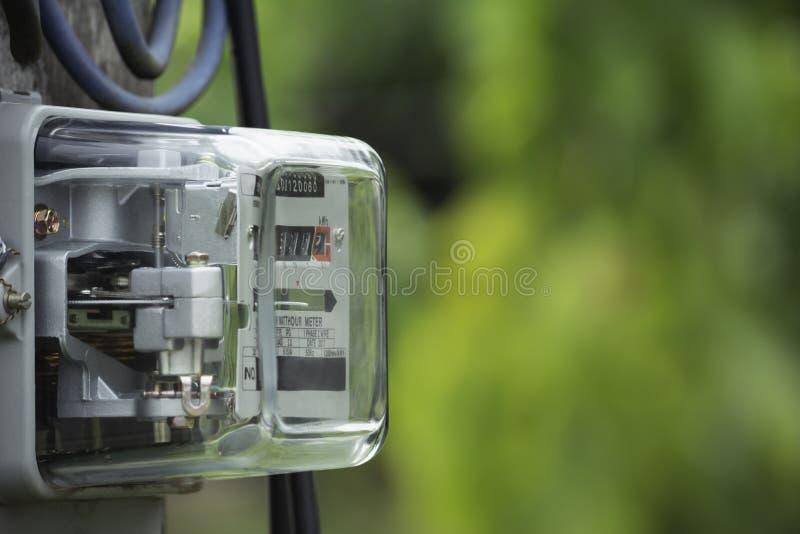 Utilisation de mesure de puissance de mètre de courant électrique Outil de mesure de mètre électrique de watt-heure avec l'espace image stock