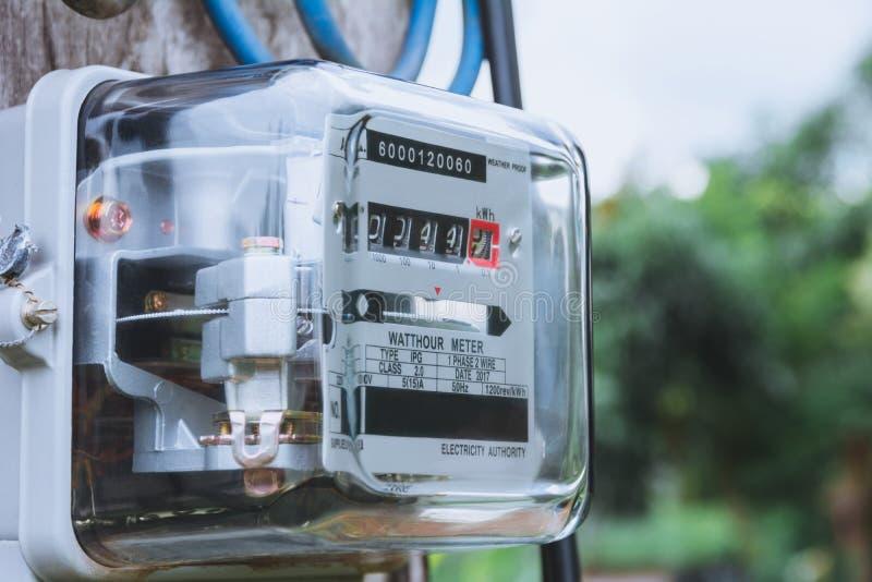 Utilisation de mesure de puissance de mètre de courant électrique Watt-heure m électrique photographie stock