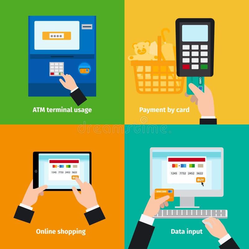 Utilisation en plastique de carte de crédit illustration de vecteur