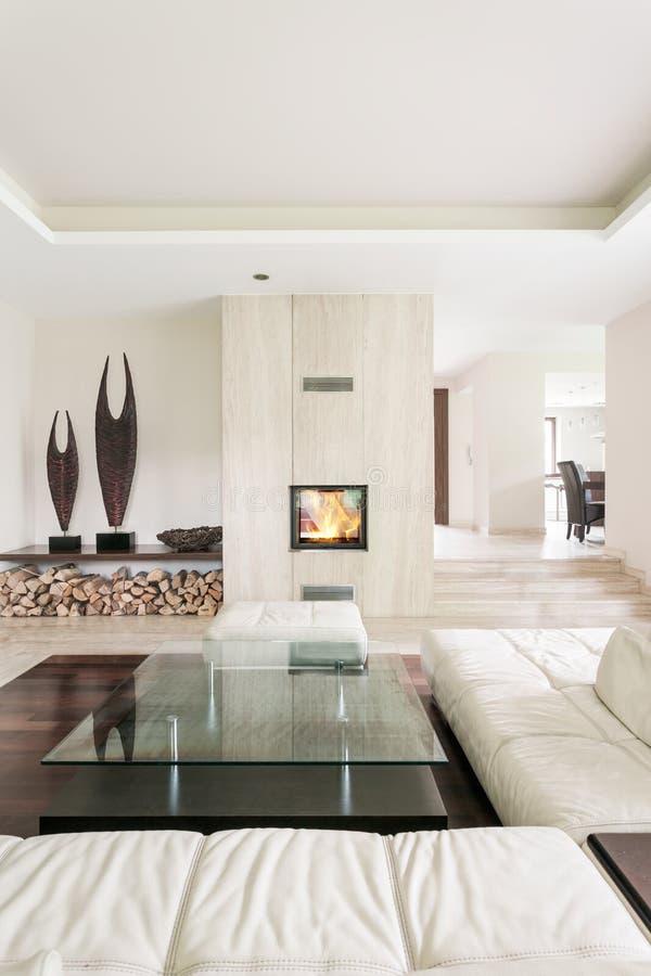 Utilisation merveilleuse de pierre en décor intérieur contemporain photo stock