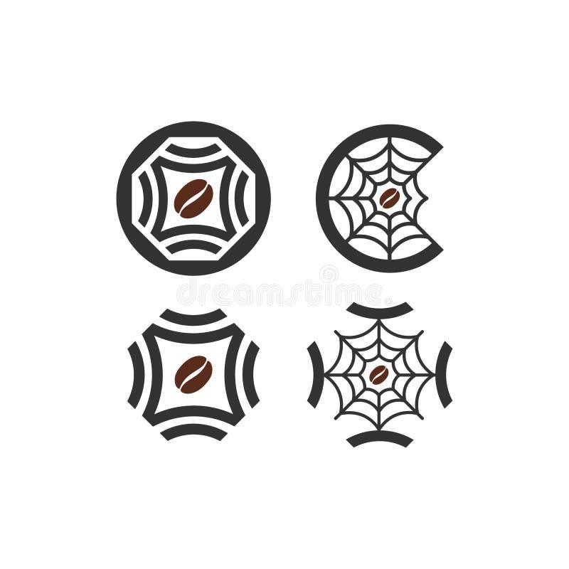 utilisation multi de logo de toile d'araignée de café illustration de vecteur