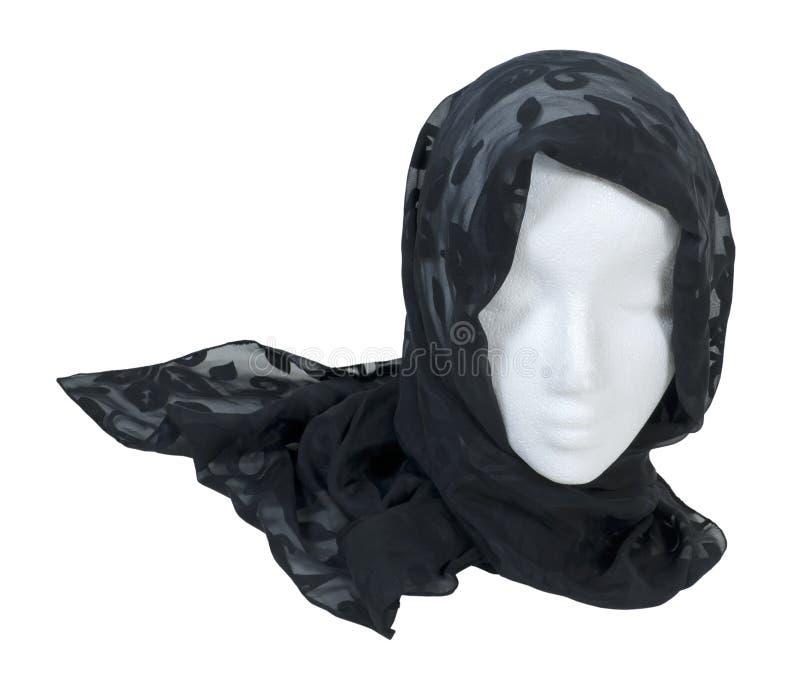 Utiliser une écharpe noire de dentelle image libre de droits