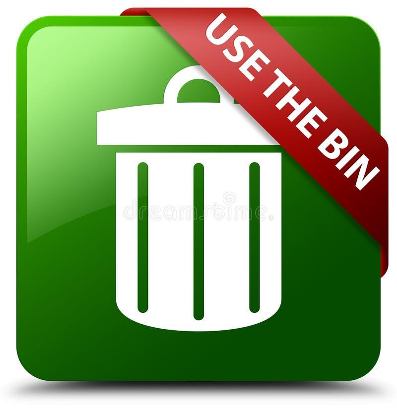 Utilisez le bouton de place de vert d'icône de déchets de poubelle illustration stock
