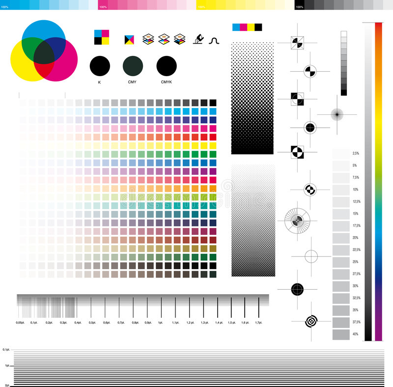 Utilitaires d'impression de Cmyk illustration stock