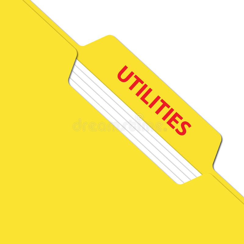 Utilities folder. An illustration of an yellow folder with the label 'Utilities stock photography