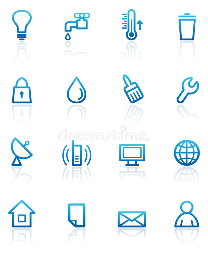 Download Utilities icons stock vector. Image of house, bulb, heart - 13092000