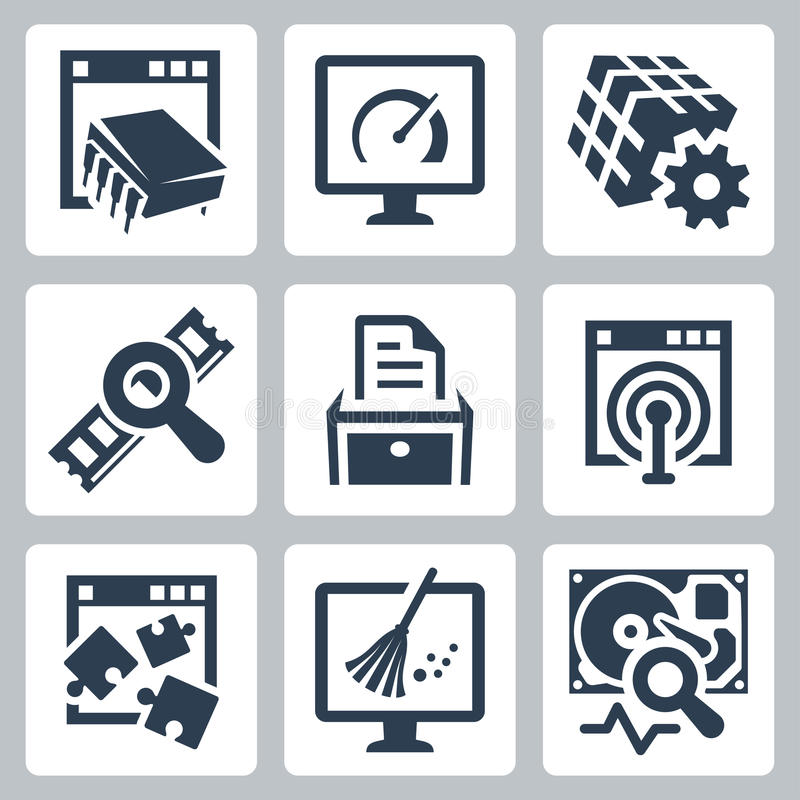 Utility software vector icons. Set stock illustration