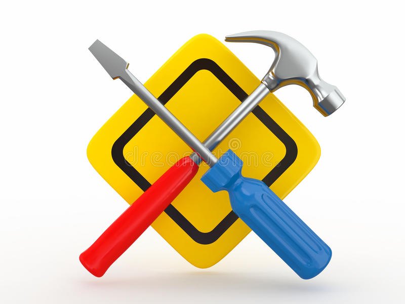 Utility. Tools, screwdriver and hammer. royalty free illustration