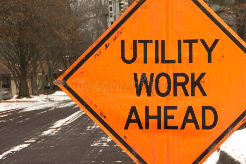 Utility work ahead stock photography